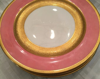 4 Antique Royal Worcester Dinner Plates/Wide Pink Border/Encrusted Gold Band And Trim/ 10 Inches/Dinner Party/Cabinet Display/ Wedding Gift