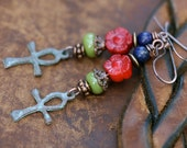 Rustic Bohemian * Redemption * earrings n.201 - religious faith . carved red Coral flower . cross . garden Spring jewelry . spirituality