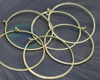 Brass Hoops earrings n57 - handforged brass hoops . artisan hoops . round brass hoops . hammered 18 gauge brass hoops . artisan jewelry