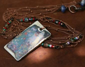 Rustic Artisan Ceramic Floral Jewelry *A Flower* necklace- organic jewelry . earthy jewelry . garden Spring Summer . Klimt artwork pendant