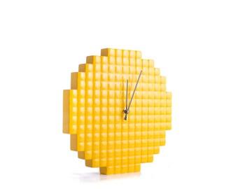 Wall clock Yellow Pixel // Pixel shape 3d pattern cut, shiny glossy paint // bright nursery decor //  colorful house perfect