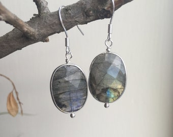Labradorite Earrings, Sterling Silver Earrings, Labradorite Gemstone, Gemstone Earrings, Labradorite Jewellery, Gemstone Earrings