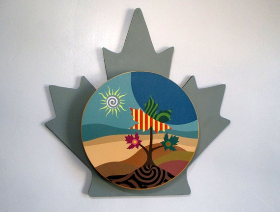 Canada Art, Maple Leaf, Maple Leaf Toronto, Canadian Seller, Pop Art Tree Painting, Wall Sculpture, Canadian Shop, Landscape Painting Print