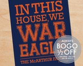 Auburn War Eagle Print - Grad Gift, In this house, We War Eagle - Custom, Personalized Art Print, Auburn University, Tigers