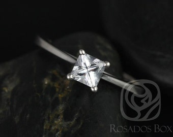 Rosados Box Gallina 4.5mm 14kt White Gold Princess White Sapphire Cathedral Looped Engagement Ring