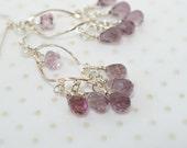 Sterling silver chandelier earrings Hippie gypsy twisted oval hoop earrings Light purple briolette crystal dangles Bohemian jewelry