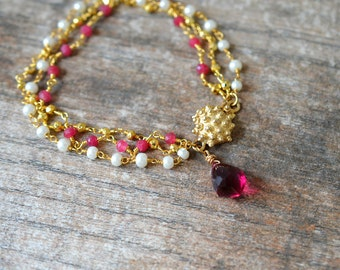 Gold pearl ruby bracelet Rubellite pink tourmaline dangle bracelet Red gemstone teardrop bracelet  Multistrand rosary chain bracelet