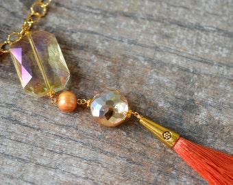 Peach pearl chain necklace Long tassel necklace Boho pearl tassel necklace Chunky bead and silk tassel pendant Bohemian jewelry
