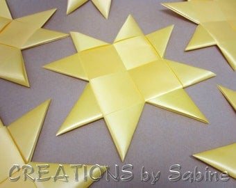 "Extra Large Flat Yellow Stars 11"" Lot of 7 Stars Window Decor Ribbon Star Origami Table Decor Folded Decoration Froebel READY TO SHIP (82)"