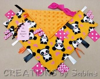 Baby Tag Blanket Sensory Toy Security  Blankie Ribbon Lovie pink orange black panda bear animal hearts Kawaii Woodland READY TO SHIP (262)