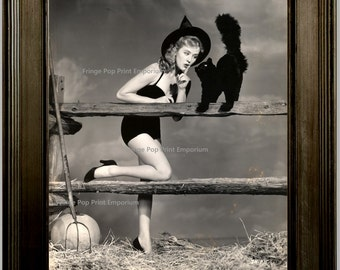 Retro Pin Up Witch Art Print 8 x 10 - With Black Cat - Pinup Kitsch Rockabilly 50s 1950s Pinup Halloween