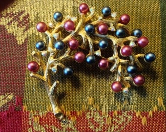 Vintage Exquisite Jewelry Large Gold BLACK-CRANBERRY PEARL Pin Brooch