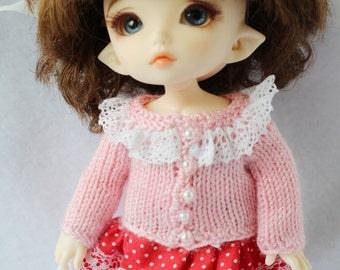 Light pink Sweater for Lati yellow / PukiFee bjd and AG American Girl mini