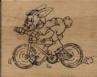 "Bunny on Bike Rubber Stamp--2.5"" X 2""--Art Impressions"