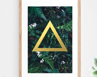 Gold Foil Geometric Printable Wall Art tropical Leaf Fern Plant Leaves Green Instant Download Downloadable Poster Modern Art Contemporary