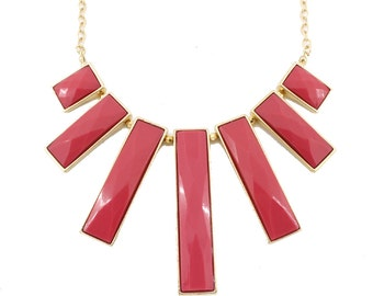 Beautiful Gold-tone Hot Pink Rectangles Statement Necklace,A16