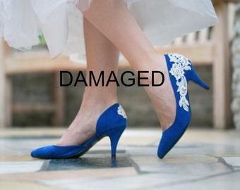 DAMAGED Cobalt Blue Wedding Shoes, Bridal Shoes, Blue Heels, Lace Heels with Ivory Lace. US Size 7.5
