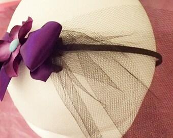 Purple Veiled Flower Headband