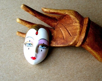 July Sale Vintage Porcelain Mask Face - Face Cabochon - Porcelain Cabochon - Mask Cabochon - Vintage Porcelain Face - 25x38mm - Doll Face