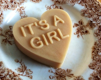 It's a Girl Lavender Scented Shower Gift Heart Shaped French Milled Goat Milk Soap for Expectant Mom