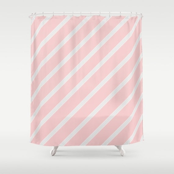 blush pink pale grey stripe shower curtain extra long