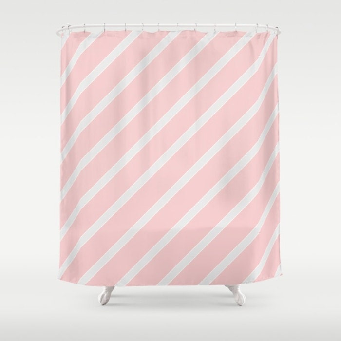 Blush Pink Pale Grey Stripe Shower Curtain Extra Long