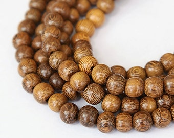 Robles Wood Beads, Brown, 8mm Round - 15.5 inch Strand - eW676-8