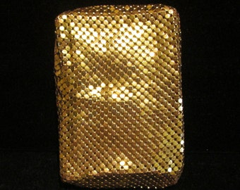 Vintage Mesh Cigarette Case Whiting and Davis Gold Mesh Cigarette Case Cell Phone Case Change Purse 1940s Art Deco Excellent Condition
