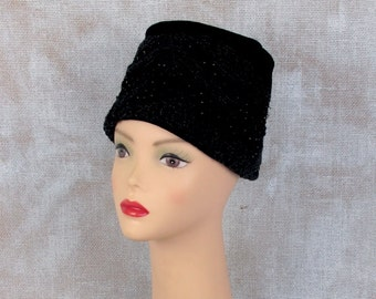 Vintage 1950s Hat, Black Hat, Velvet Hat, Turban Hat, Black Beaded Hat, Evening Hat, Pillbox Hat, 1960s Hat