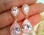 ROSE GOLD EARRING, Wedding Earrings, bridesmaid gift, bridal Earrings, cubic zirconia ,Clear, Studs Earrings, post earrings, Christmas Gift