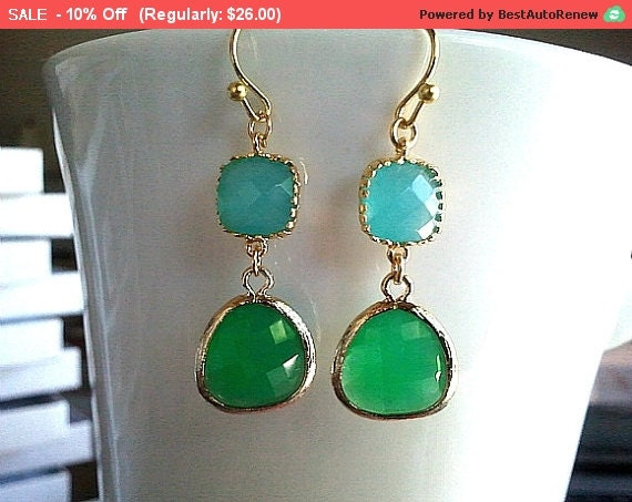 Palace Green and Mint blue Gold Drop, Dangle, Glass Earrings, bridesmaid gifts,Wedding jewelry, christmas gift, cocktail jewelry