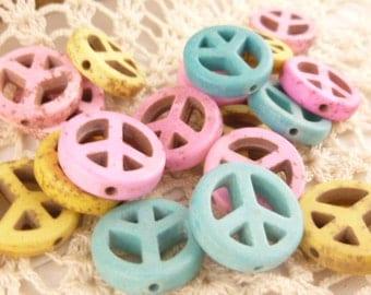 Pastel Pink, Yellow, Blue Magnesite Howlite Peace Symbol Beads (6)