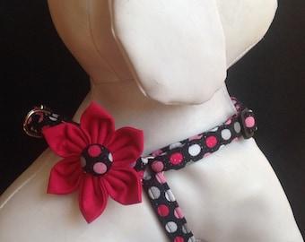 Step in Dog Harness Flower Set / Black & Pink Sparkly Polka Dot - Size XXS, XS, S, M