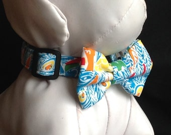 Lilly Pulitzer Dog Collar Bow Tie Set - Shake Your Tail Feather - Size XS, S, M, L, XL