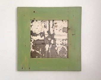 Framed Ceiling Tin Magnet Board / Wall Decor Handmade with Reclaimed Wood