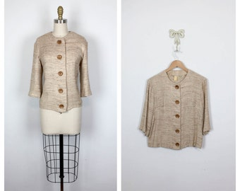 50s Heather Brown Boxy Jacket • 1950s Three-quarter Length Sleeve Textured Top • Vintage Button Up Shirt • Large