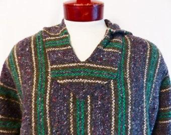 vintage 80's 90's Frank's Textiles green beige charcoal heather grey vertical stripe baja hoodie sweatshirt drug rug mexican poncho surfer