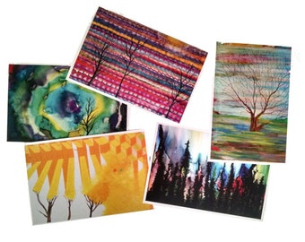 Set of 5 Tree Art Postcards, Free Shipping
