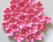 Hot Pink & Hot Orange Blossoms / Cake Topper and Cupcake Decorations
