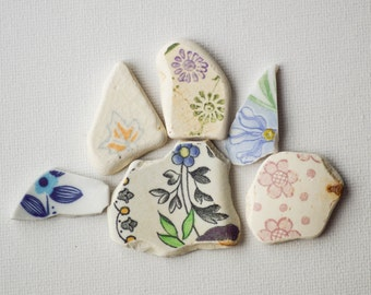 Patterned Matching Sea Pottery Lot, Flower Pattern, Pendant Sized, Mosaic Pieces