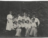 Old Photo Group of Affectionate Women in the Woods Long Skirts 1910s Photograph snapshot vintage