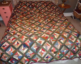Vintage Quilt, Pieced and Tied Scraps Quilt
