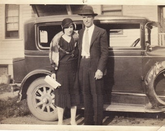 "1920's Photo - Flapper Couple with Car - Vintage 5 x 7"" Auto Sedan"