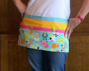 Teacher Apron - Baby Farm Animal Tool Belt Apron - Utility Apron for Teacher - One Size