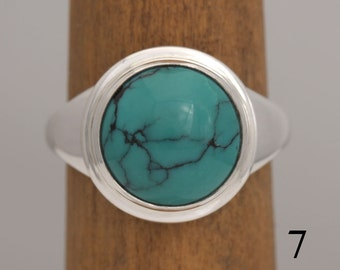 Turquoise ring, size 7, turquoise and sterling silver ring, #751.