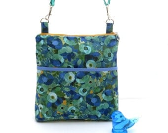 Blue flower print bag, blue zipper bag, aqua bag with adjustable strap, womens aqua hip bag, silvia vassileva bag, flower crossbody bag