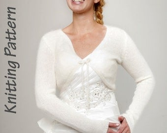 Knitting Pattern angora cardigan with ribbon for the bridal dress or evening dress
