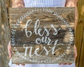 Bless our Nest  Wood Sign, Wood Pallet Sign, Anniversary Gift, Wedding Gift