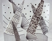 black and white zentangle inspired glass sculpture