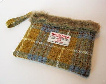 Blue Yellow Check Multi Purpose Bag with Faux Fur Trim